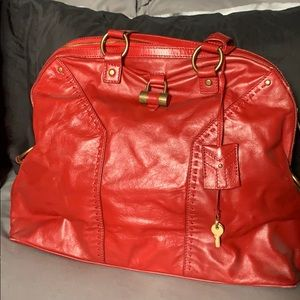 Saint Laurent Muse Paris Red Leather Satchel
